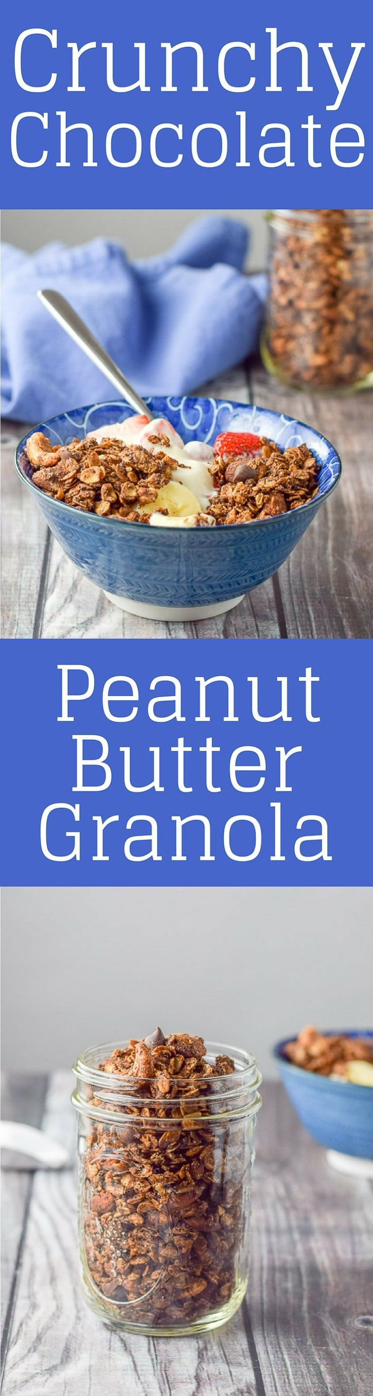 Crunchy Chocolate Peanut Butter Granola is delicious and decedant! I love to heap it on yogurt and fruit! You will too! #granola #breakfast #peanutbuttergranola #dishesdelishrecipes https://ddel.co/ccpbg via @dishesdelish