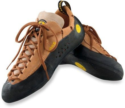 La Sportiva Mythos.  I have owned three pair a fantastic all around gym/crack climbing shoe.  Buy 1/2 size small - they stretch - you want them tight.