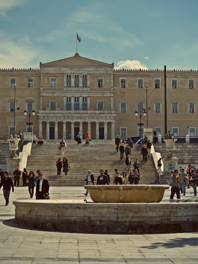 The Parliament building was finished in 1843 to house the palace of King Otto and Queen Amalia of the newly born at that time Greek Kingdom. (Walking Athens, Route 01 - University Str.)