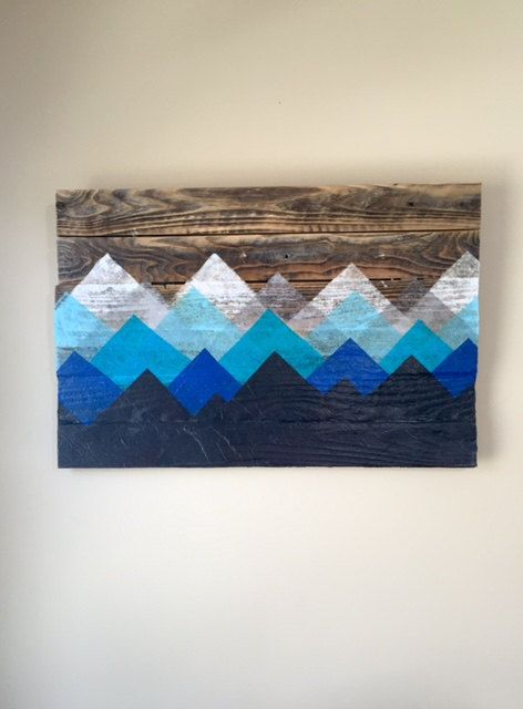 Reclaimed Wood Wall Art Mountain Landscape by WoodScapeDesign