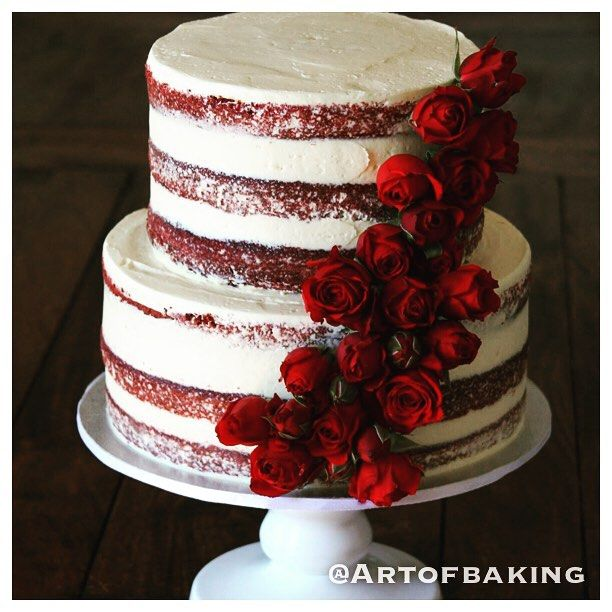 Susanne @artofbaking Red velvet red rose naked cake...Instagram photo   Websta (Webstagram)