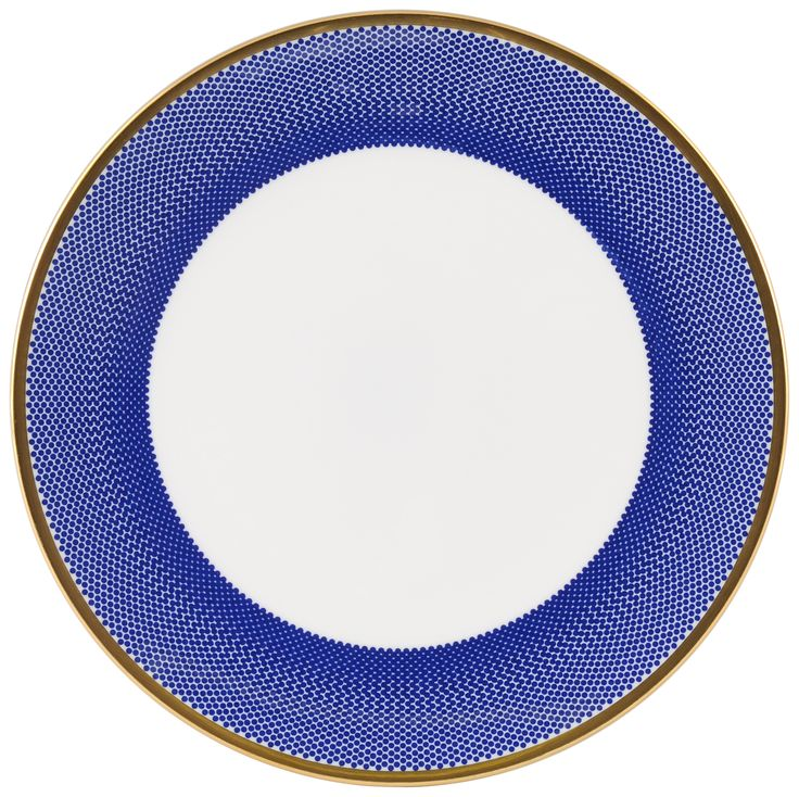 "8"" 'Benday Cobalt' Cake Plate for your favourite treats. Complimented with 22kt Gold rims and accents. Hand made in Stoke-on-Trent, England, this collection is inspired by Benjamin Day: 'our homage to the dot'. 8"" Cake Plate can be used for cakes, desserts and other sweet treats. Handwash Only, Fine Bone China. Find out more here: https://thenewenglish.co.uk/collections/benday-cobalt #TheNewEnglish #Benday #Cobalt"