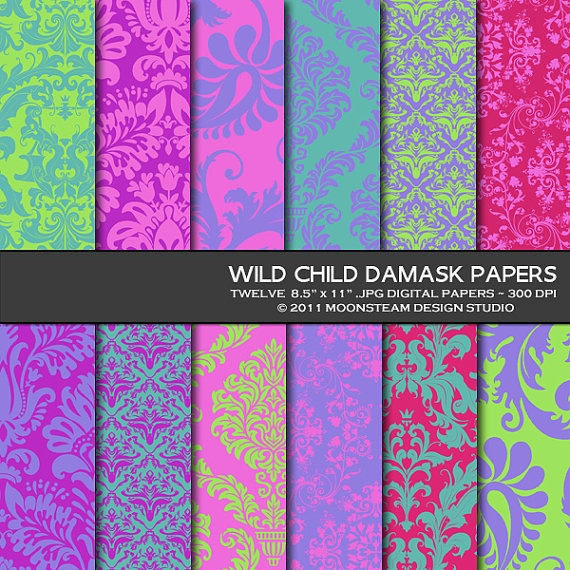 Damask in bold colors