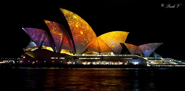 Golden Paint Splashes on Opera House Sails