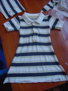 Upcycled / refashioned men's polo shirt to little girl's dress.