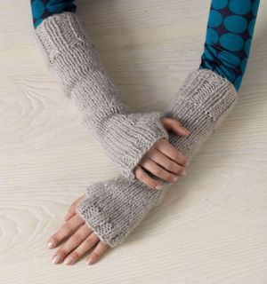 fingerless gloves with extra arm warming sleeve. skill level: easy and it