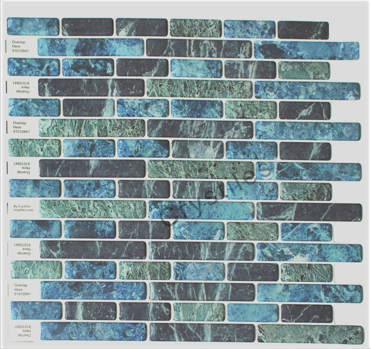 "Crystiles Peel and Stick Self-Adhesive Vinyl Wall Tiles, Blue, Green and Black Marbling, Item# 91010841, 10"" X 10"", 1 Sheet Sample"