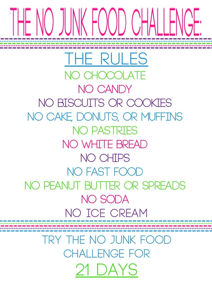 The No Junk Food Challenge. Starting tomorrow...no lie!(part of diet plan) No extras and no junk.