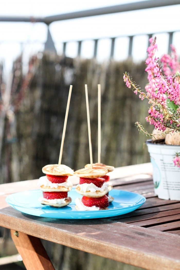 small pancakes, strawberries & whipped cream skewers, yum! :)