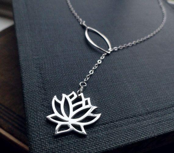 Lotus necklace lariat necklace Yoga Jewelry by BriguysGirls, $35.00