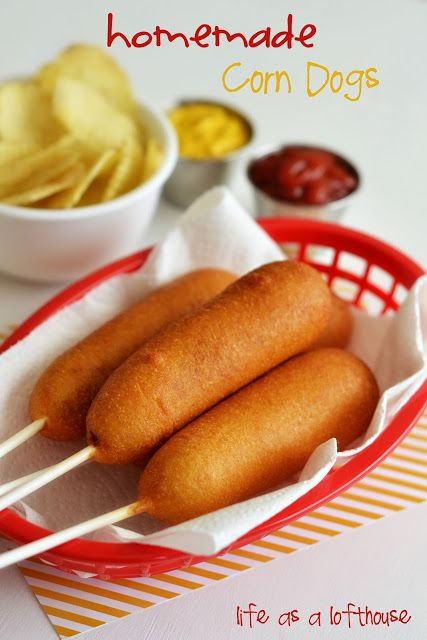 Homemade Corn Dogs - hint dry hotdogs very well before dipping in batter.