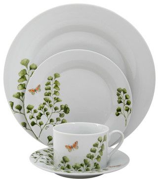 Gibson Woodland Fern 20-Piece Dinnerware Set contemporary-dinnerware-sets