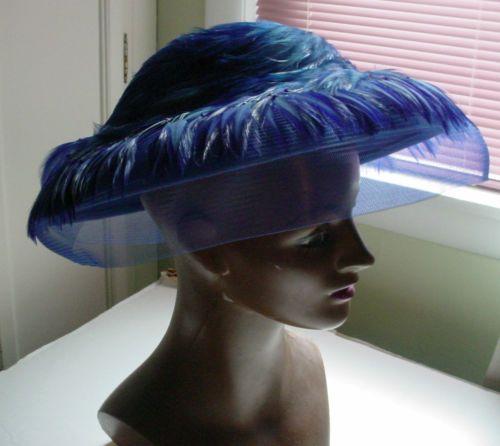 Vintage Blue 1980s Women s Felt Hat with Feathers Net Veil  4df24c0df