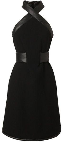 CHRISTOPHER KANE LONDON Leather Trimmed Crepe Wool Halterneck Dress
