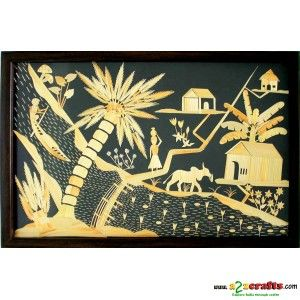 Wheat straw River side life - Wall Hanging - Rs 3,850 - Hand Made Crafts - Buy & Sell Indian Handmade Crafts and Handmade Jewelry and Gifts