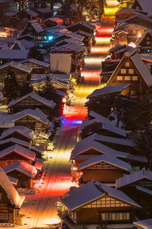 Snowy night in Shirakawa-go, Japan • photo: Miyamoto Y on 500px