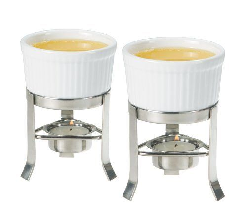Oggi 2-Piece Butter Warmer Set with Stainless Steel Stand by Oggi. $12.12. 2-Piece butter warmer set by Oggi. Set includes two ramekins and two stainless steel stands. Attractive and practical ? an essential when serving seafood. Uses replaceable tealights. With innovative designs and contemporary finishes, Oggi's kitchen, bar and bath wares are truly tomorrow's house wares today. Oggi's 2-Piece Butter Warmer Set is no exception. This set includes two ramekins and tw...