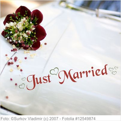 Autoaufkleber Hochzeit Just Married mit Herzen S 2-farbig