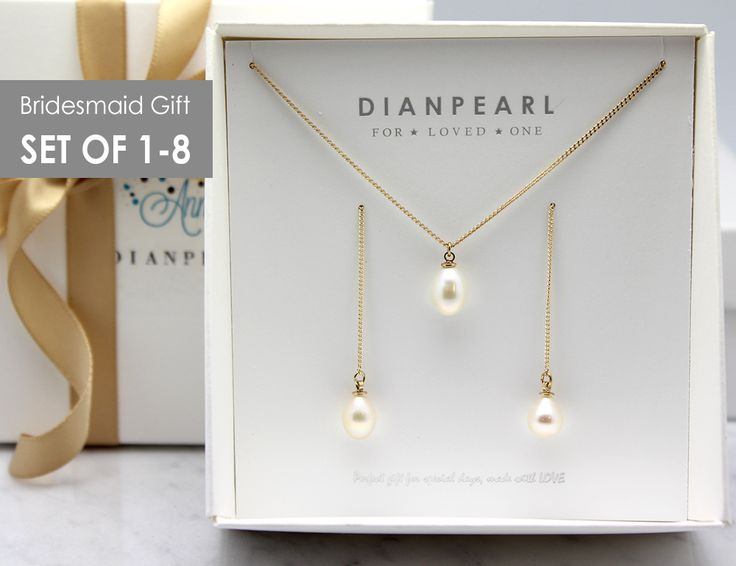 Freshwater Pearl Gold Jewelry Set, Bridesmaid gift, Long earrings