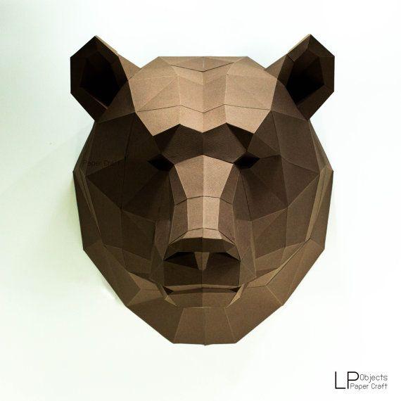 Ours tête tête dAnimal ours lowpoly masque dours ours par LPobjects