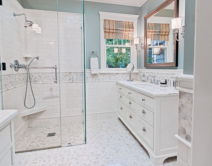 Handsome Akdo Tile Discount Decorating Ideas In Bathroom Traditional Design Ideas With Handsome Curbless Shower Freestanding Vanity Glass Shower Doors