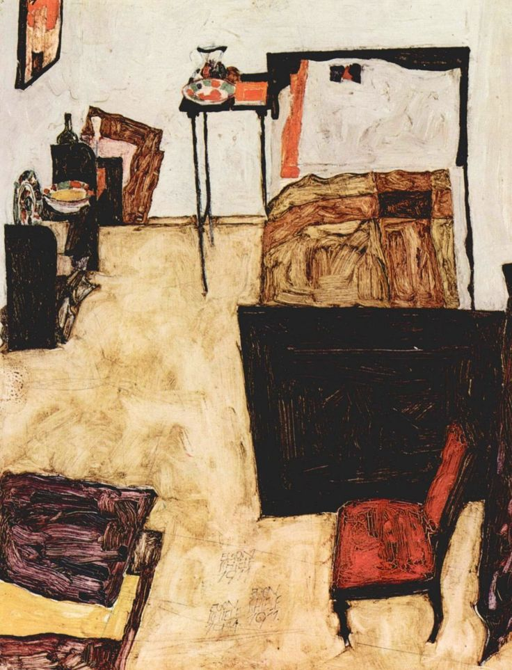Just amazing!!! All three of my favourite artists influences in one piece. So glad that I got to see all of their work recently in Vienn: Egon Schiele, Schiele's Room in Neulengbach (1911). He was introduced to Van Gogh's work when Klimt invited him to exhibit some of his work at the 1909 Vienna Kunstschau. Click for original painting.