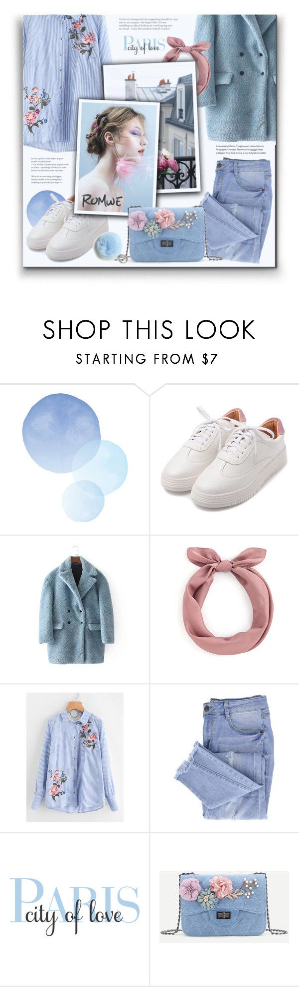 """Baby Blue"" by hanicelma ❤ liked on Polyvore featuring Essie, WALL, Etienne Aigner, romwe and babyblue"