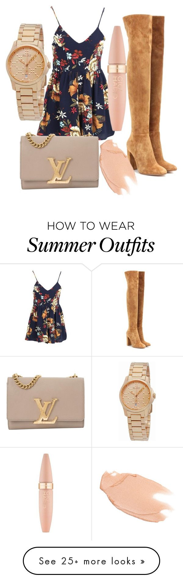 """weird outfit"" by teymac456 on Polyvore featuring Gianvito Rossi, Too Faced Cosmetics, Louis Vuitton, Maybelline and Gucci"