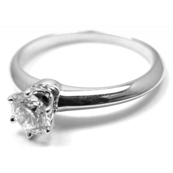 Pre-owned Tiffany & Co. Platinum .39ct Diamond Engagement Ring Size... ($2,375) ❤ liked on Polyvore featuring jewelry, rings, platinum diamond rings, round diamond ring, diamond rings, platinum engagement rings and pre owned engagement rings
