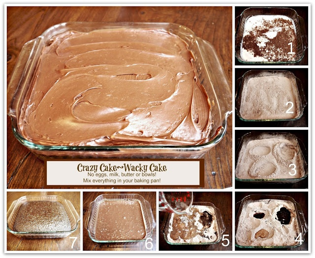 Crazy Cake (also known as Wacky Cake) No Eggs, Milk, Butter or Bowls! Crazy Moist & Good! A recipe dating back to the Depression.