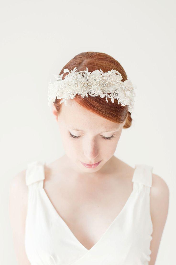 Wedding, Bridal Fascinator, Head Piece, Rhinestone Hair Piece, Wedding Hair Accessory, ivory, silver, velvet - Heart's Desire. $225.00, via Etsy.