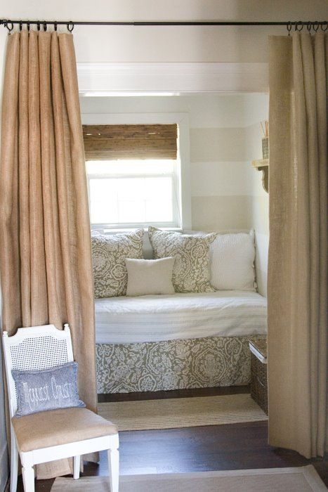Things We Love:  Burlap Drapes Great way to separate sleeping nook in small cottage or studio