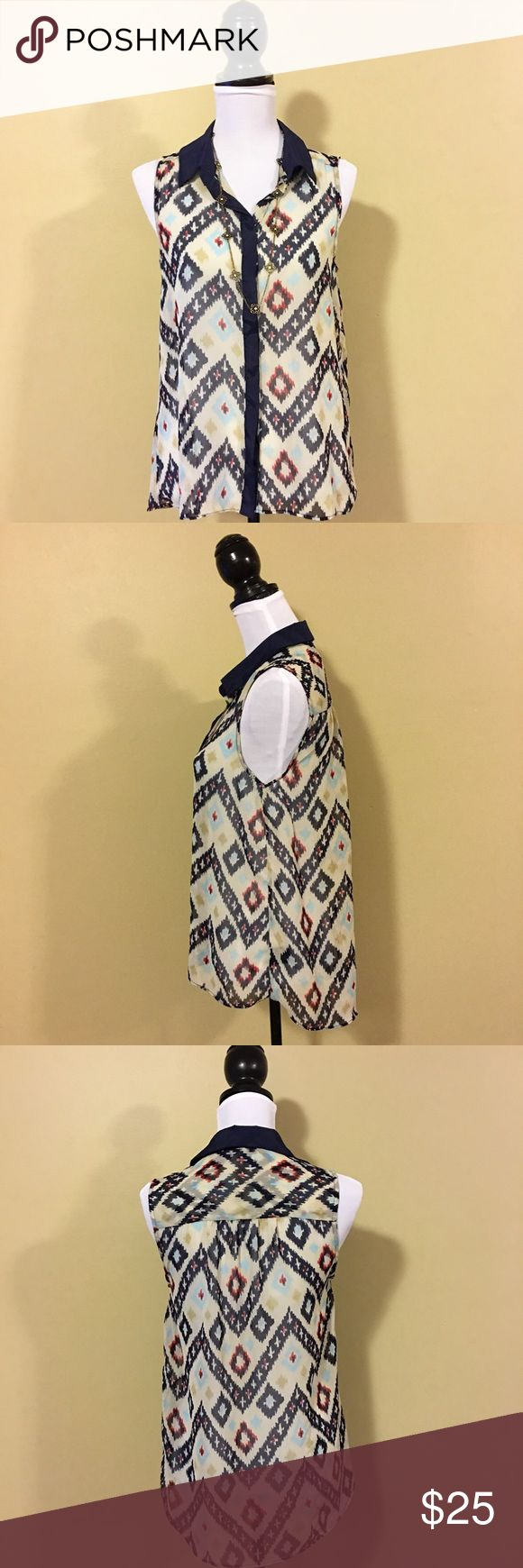 Walter Baker Sleeveless Tribal Print Top Walter Baker Sleeveless Tribal Print Top - Size Small. So many options with this top! W118 by Walter Baker Tops Blouses