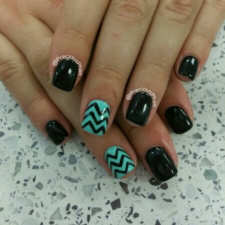 Blank and mint chevron nails