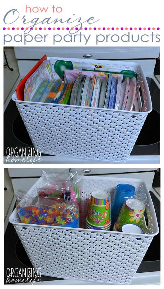Wrangle all the various celebration paper products in a realistic way. How to Organize Paper Party Products