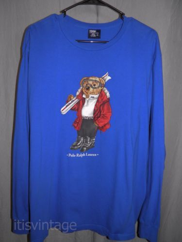 Vintage-Polo-Ralph-Lauren-Ski-Bear-Long-Sleeve-Large-Blue-Cotton-Shirt-L-USA
