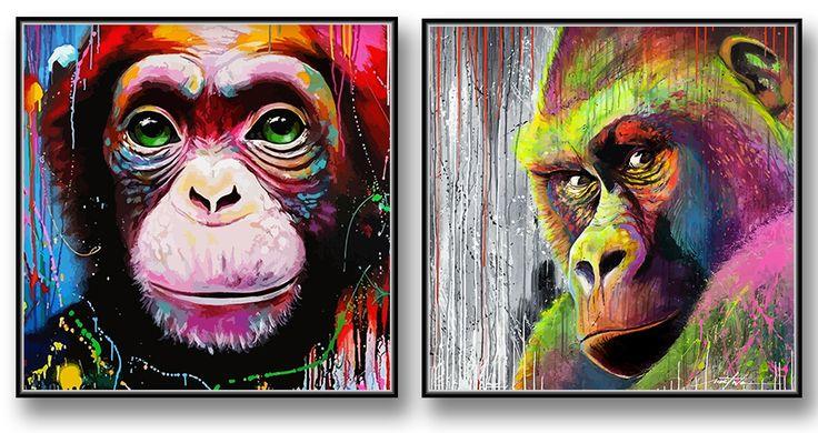 Färgglad Gorilla. Graffiti Tavla