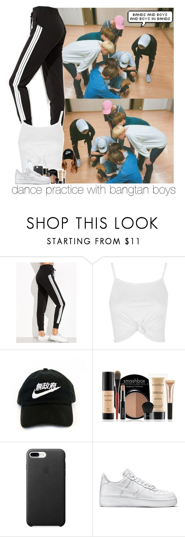 """""""Dance practice with BTS."""" by jk-jaylene ❤ liked on Polyvore featuring Topshop, Smashbox and NIKE"""