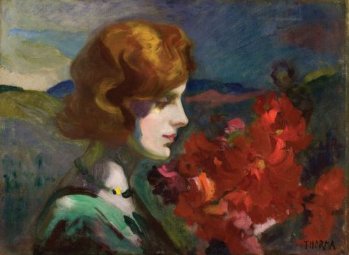 Thorma János (1870-1937) - Lady with a bunch of flowers