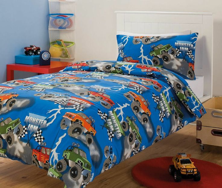Monster Jam Monster Trucks Blue Kids Printed Single Bed Quilt Cover Set New
