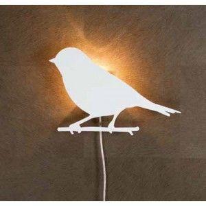 Applique murale oiseau blanc pluto