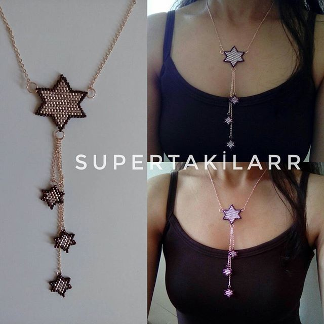 Miyuki 4 yıldız kolye Designed by @supertakilarr @supertakilar Kendi tasarımım.. #miyuki #handmade #supertakilarr