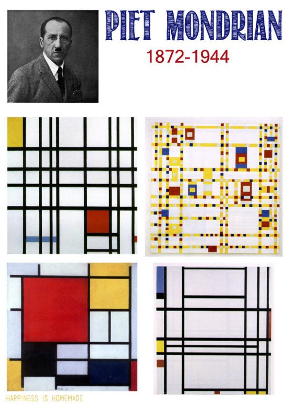 Piet Mondrian was originally a landscape painter. He produced Cubist-inspired studies of trees before discarding representational art. His later style involved vertical and horizontal black lines on white canvases, punctuated by bright windows of colour. He termed these arrangements 'basic forms of beauty'. There is a Secession feel in the complex geometrics and use of colour.