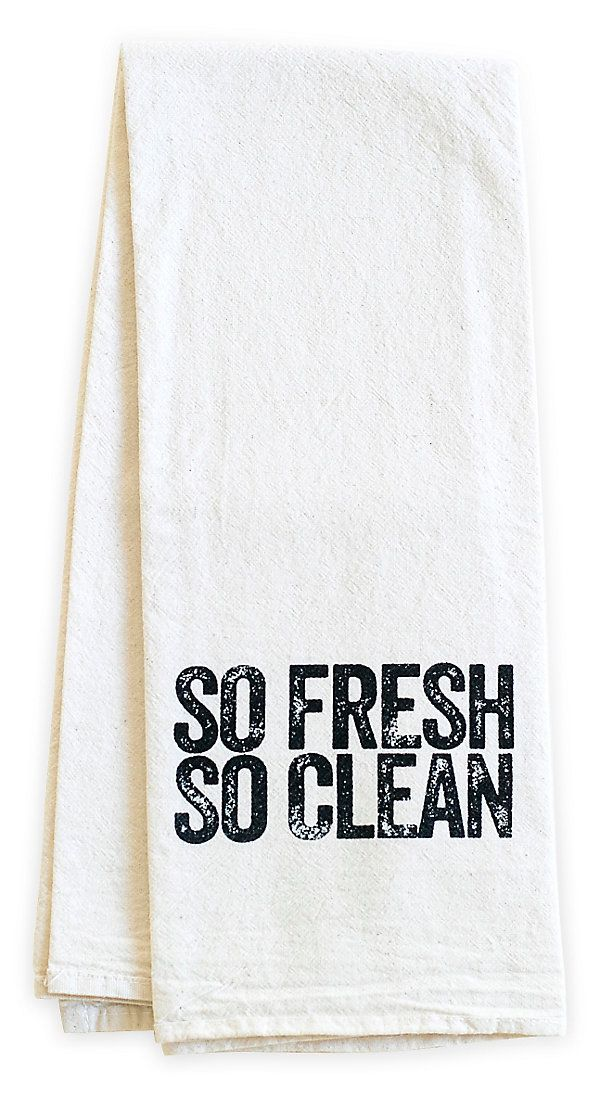 "One Kings Lane - The Kitchen Store - ""So Fresh"" Tea Towel, Black"