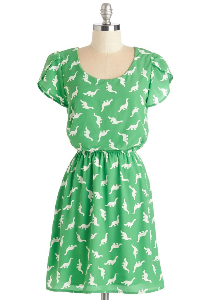 Dino My Gosh Dress in Lime. Its hard not to express the delight you feel when youre wearing the white dinosaurs adorning this printed dress! #green #modcloth