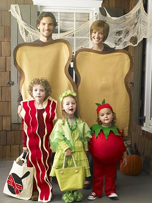 This BLT costume is perfect for a family, or any solid crew of five people. You'll need fabric and some sewing skills, but perfection isn't what's important here.    - Delish.com
