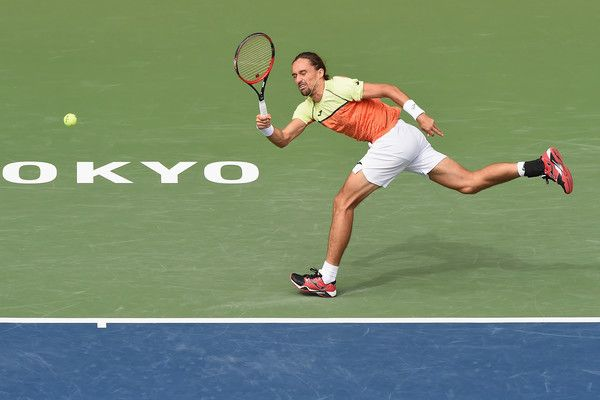 Alexandr Dolgopolov of Ukraine plays a forehand against Steve Johnson of the USA during day four of the Rakuten Open at Ariake Coliseum on October 5, 2017 in Tokyo, Japan.