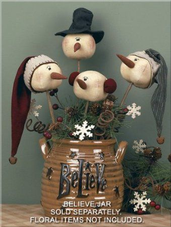 Amazon.com - Christmas Primitive Country Whimsy Rolly Polly Snowman Wand Set