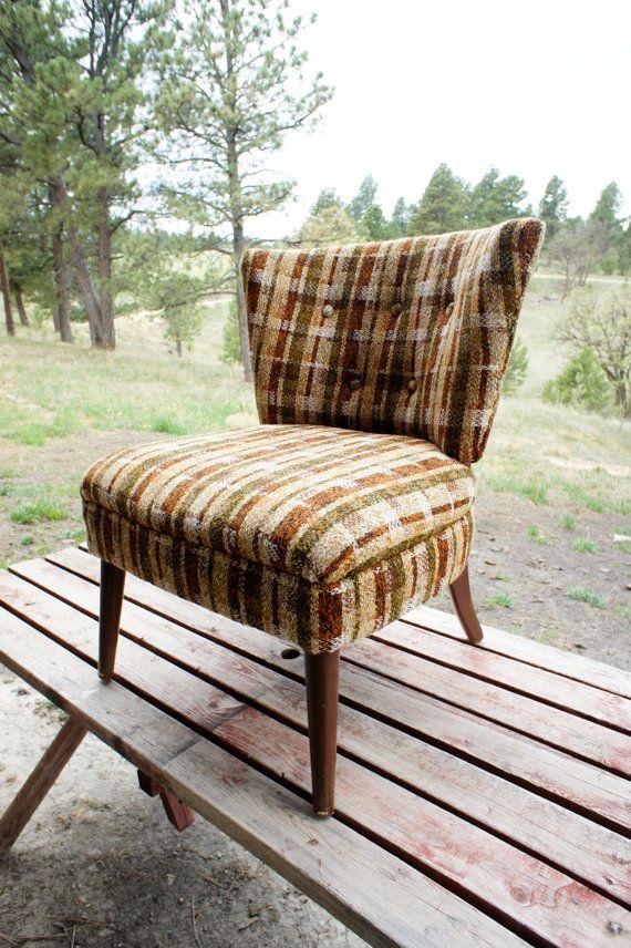 Vintage Plaid Slipper Chair Retro Brown Orange Gold Tweed Upholstered Side  Chair