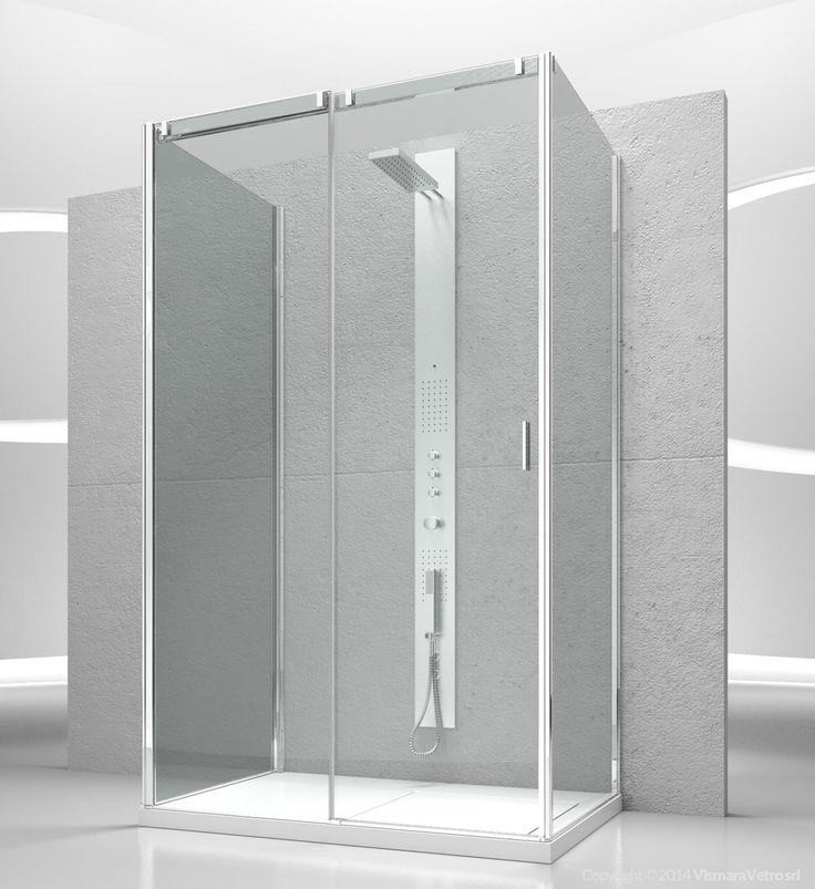 Frameless sliding shower enclosure for rectangular corner shower trays avec additional fixed panel for three sided shower enclosure. Shower enclosures Slide by @vismaravetro | VG+VQ+VF